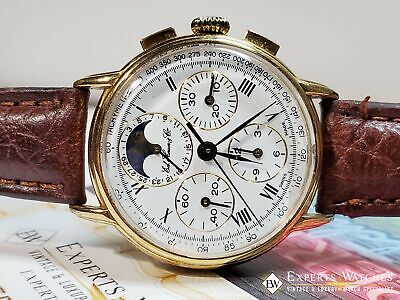 Serviced Ed Heuer Cie Moonphase Chronograph 125th Anniversary Edition Lemania