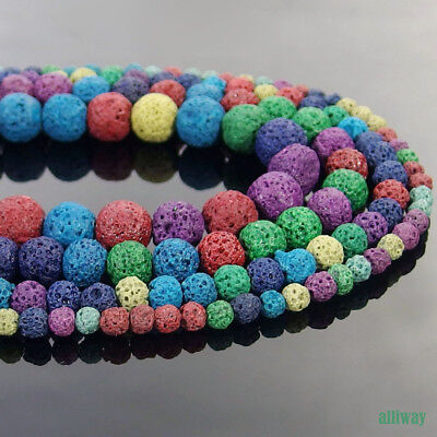 Multi Color Volcanic Lava Stone Round  Beads 15.5'' 4mm 6mm 8mm 10mm Jewelry DIY