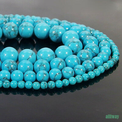 Blue Turquoise Stone Round Beads 15.5'' 2mm 3mm 4mm 6mm 8mm 10mm 12mm DIY
