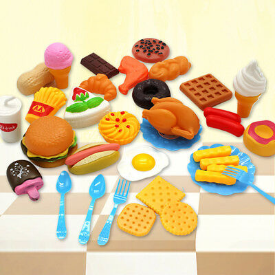 34x Plastic Food Toys Cutting Bread Cake Kids Kitchen Play Set Kids Baby Pretend