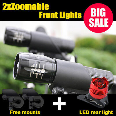 2X CREE Q5 LED Mountain Bike Bicycle Torch Front Lights + Aluminum Rear SET