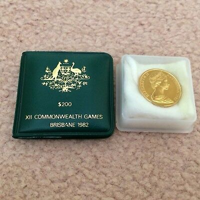 1982 Commonwealth Games $200 Gold Proof Coin - Excellent Uncirculated - Wallet