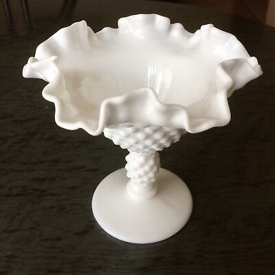 Vintage Fenton Hobnail Pedestal Bowl - Ruffled - 1950's - Stamped At Base
