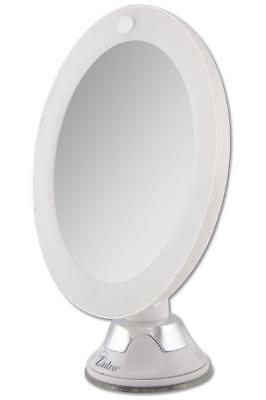 Magnifying Makeup Mirror LED Lighted Power Suction 10x Ideal for Travel, New