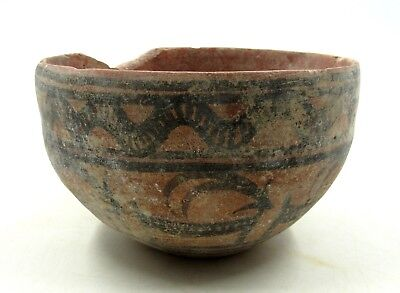 Authentic Ancient Indus Valley Terracotta Bowl W/ Deer & Snake Motif - L856