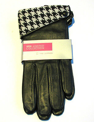 M&S Marks & Spencer Ladies Fine Leather Gloves - Black / Dogtooth Print Cuff £25