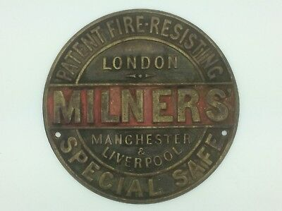 Antique Milners Brass Safe Plate - Advertising Sign