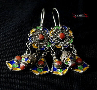 Old Berber Earrings – Silver, Coral – Kabyle Tribe, Algeria