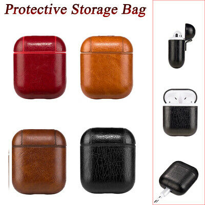 Leather Airpods Earphone Protective Case Skin Cover For Apple AirPod Shock Proof