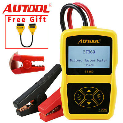 AUTOOL BT-360 12V Battery Tester AGM GEL Lead Acid Charging Tester + Free Gift