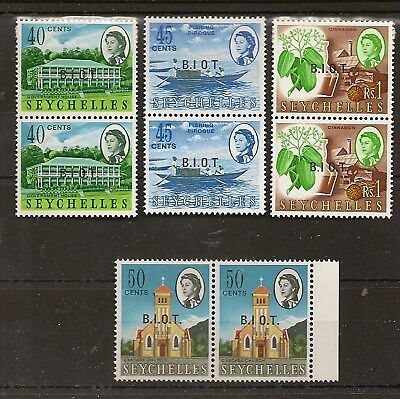 """BIOT 1968 MISSING STOP AFTER """"I"""" SG6a/8a  & 10a MNH IN PAIRS WITH NORMAL"""