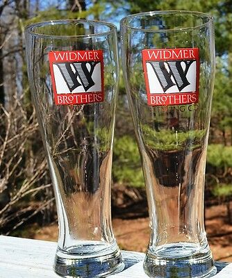 New Pair Of Tall Widmer Brothers Brewing Co. Of Portland Oregon Beer Glasses