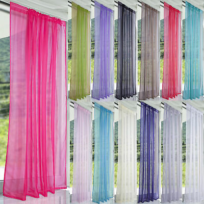 Floral Coloful Door Window Curtain Tulle Voile Drape Panel Sheer Scarf Valances