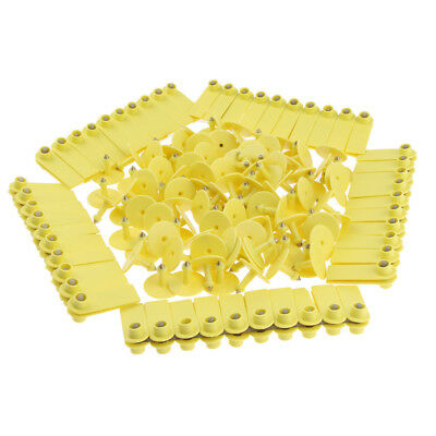 100Pcs Blank Livestock Ear Tags for Goat Sheep Pig Cow Cattle Durable Yellow