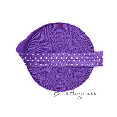 "5 Yard 5/8"" Polka Dot Print Purple Fold Over Elastic FOE Spandex Band Dress Trim"