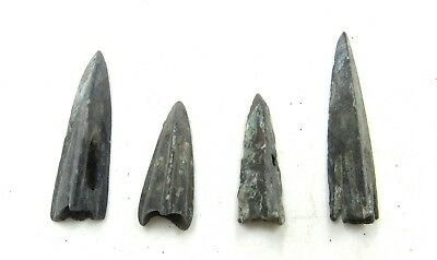 Authentic Lot Of 4 Ancient Scythian Bronze Arrow Heads - H634