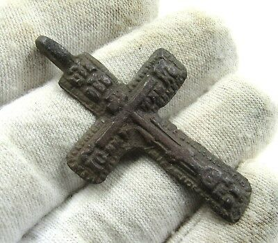 Authentic Late Medieval Era Bronze Cross Pendant - Wearable - H635