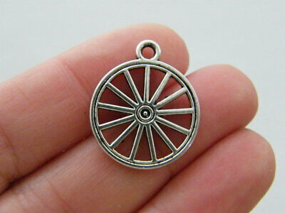 BULK 30 Wheel charms antique silver tone P638