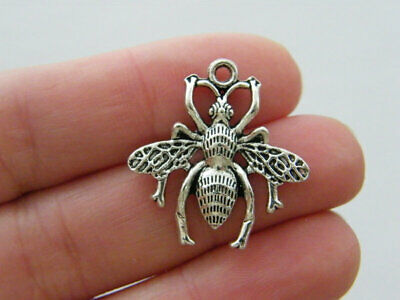 BULK 30 Bee charms antique silver tone A147