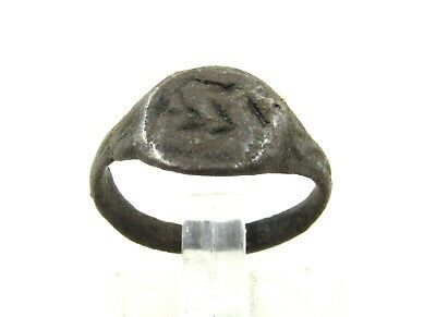 Authentic Medieval Viking Era Bronze Ring W/ Runic Motif - Wearable - H644