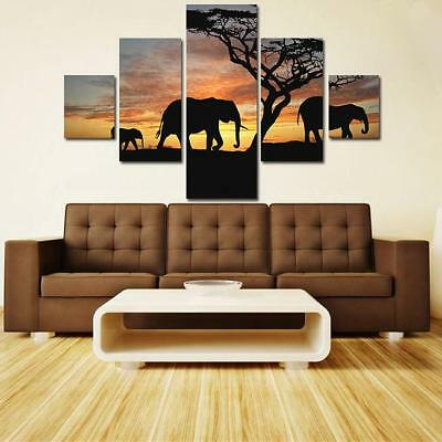 Elephant Sunset Abstract Wall Decor Oil Painting Frameless Colorful Ornament one