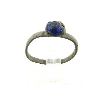 Authentic Late Medieval Tudor Bronze Ring W/ Stone In Bezel - Wearable - H650