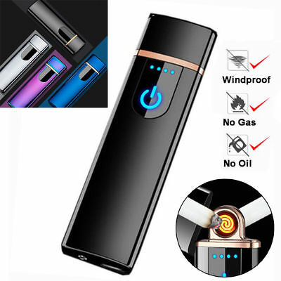 Electric Flameless Lighter Rechargeable USB Charging Lighter Touch Sensor Metal