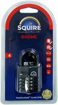 Squire CP40 Heavy Duty 4 Four Digit Security Combination Padlock Lock Black 40mm
