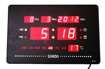 Reloj pared calendario digital SD-0031 alarma temperatura + soporte para mesa