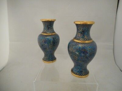 Beautiful Pair of Chinese 20th Century Blue Cloisonne Vases