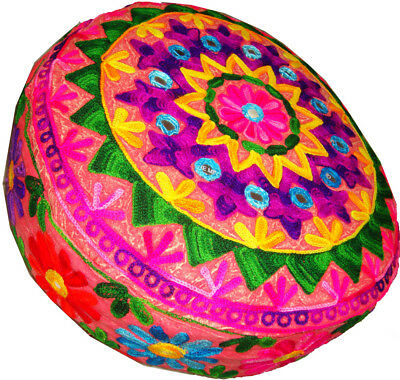 Cushion Ottoman/floor/sofa Round Seat Cover Tapestry Indian Stunning Embroider