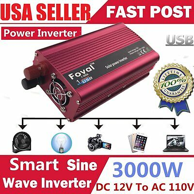3000W/6000 Watt Peak Power Inverter DC 12V to AC 110V for Car Truck RV Pickup QY