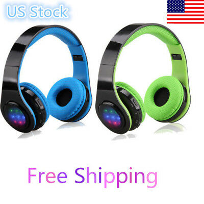 Folding Wireless Bluetooth Adjustable Headset LED Stereo Headphone Earphone US