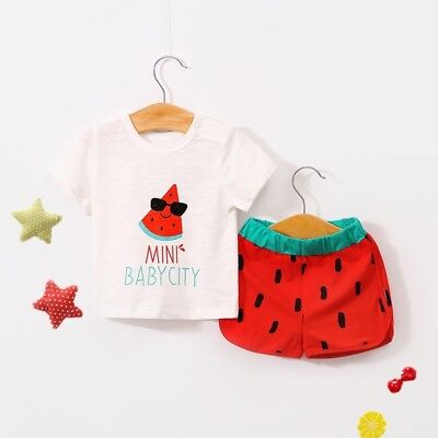 2pcs Toddler Kid Baby Girl Clothes Strawberry T Shirt Tops Shorts Outfits Set