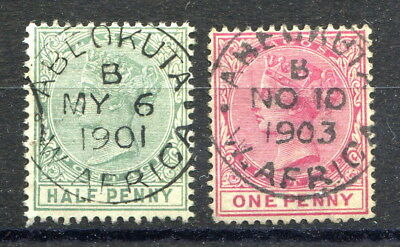 """Nigeria – Lagos Crown CA ½d. & 1d. stamps both with clear """"ABEOKUTA"""" c.d.s. pmks"""