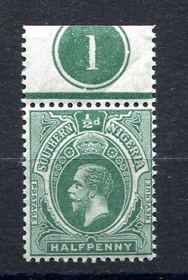 """Southern Nigeria 1912 GV ½d. black & green mint single plate number """"1"""" above"""