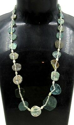Authentic Ancient Roman Era Glass Beaded Necklace - H660