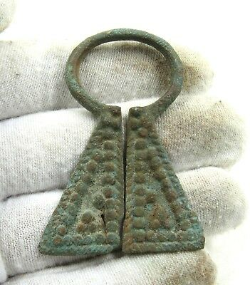 Authentic Medieval Viking Bronze Penannular Omega Brooch - H664