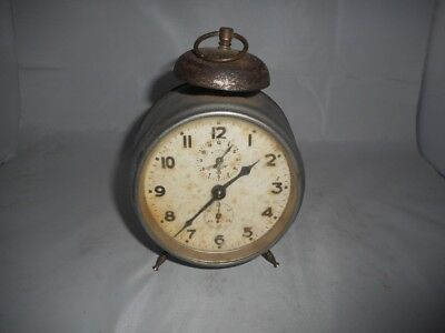 Vintage FMS Metal Cased Alarm Clock with Bell on Top