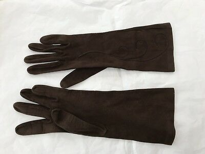 Vintage Milore mid length 1960s/70s Ladies Brown Leather Suede Gloves Size 6.5