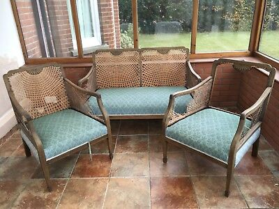 Antique 3 Piece Bergere Suite In Need Of Renovation