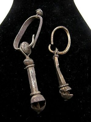Authentic Pair Of Medieval Viking Era Silver Decorated Earrings - H678