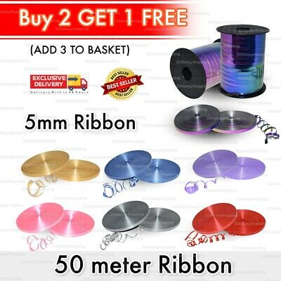 50 Metres Balloon String tie Curling Ribbons Colours Baloon Ribon BALLON REEL