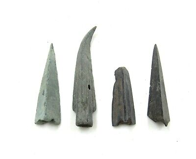 Authentic Lot Of 4 Ancient Scythian Bronze Arrow Heads - H679