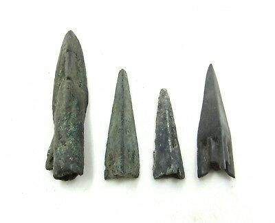 Authentic Lot Of 4 Ancient Scythian Bronze Arrow Heads - H680