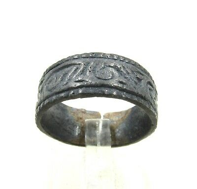Authentic Medieval Viking Ring W/ Runic Motif - Wearable - H687