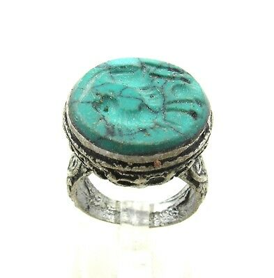 Authentic Post Medieval Silver Ring Intaglio W/ Beast - Wearable - H688