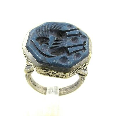 Authentic Post Medieval Silver Ring Lapis Intaglio W/ Beast - Wearable - H689