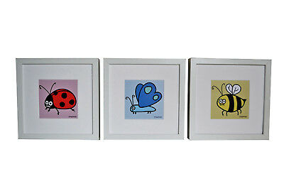 Set of 3 FRAMED cute insect pictures. Deep chunky white wood frames.