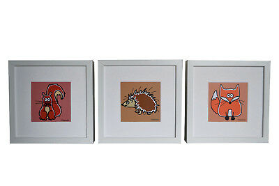 Set of 3 FRAMED woodland animal pictures. Deep chunky white wood frames.